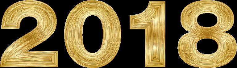 2018 Schriftzug gold
